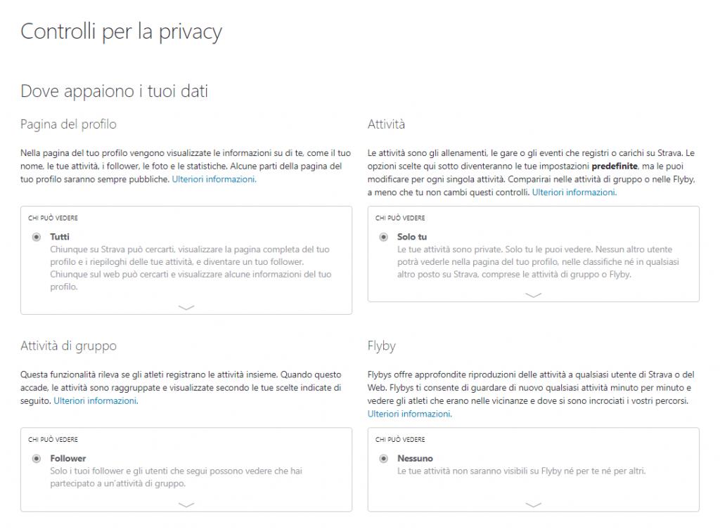 controlli privacy strava